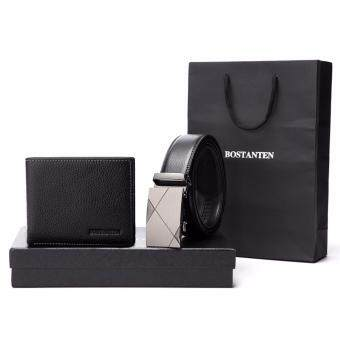 Harga Bostanten Men's Genuine CowLeather Belt And Genuine Cowhide LeatherWallet Gift Box Black
