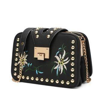 Brand AOYI Fashion Ladies Embroidered Handbags Ladies Small SquaresBag Ladies Famous Brand Designer Shoulder Bag Girl(Black)