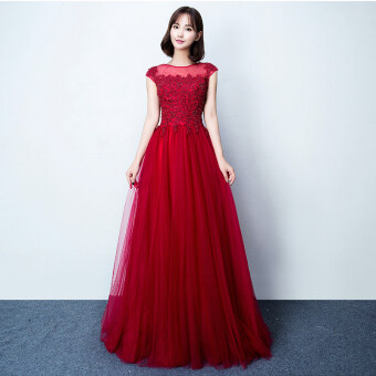Bride New style autumn and winter wedding dress toast clothing (Red wine)