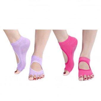 Bundle: SOKANO Yoga Antislip Socks Set of 2 (Pink and Purple)
