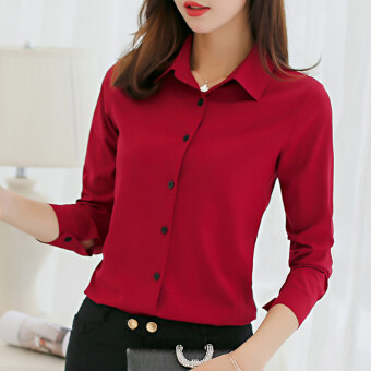 CALAN DIANA Women's Slim Fit Chiffon Long Sleeve Shirt Color Varies (Red wine)