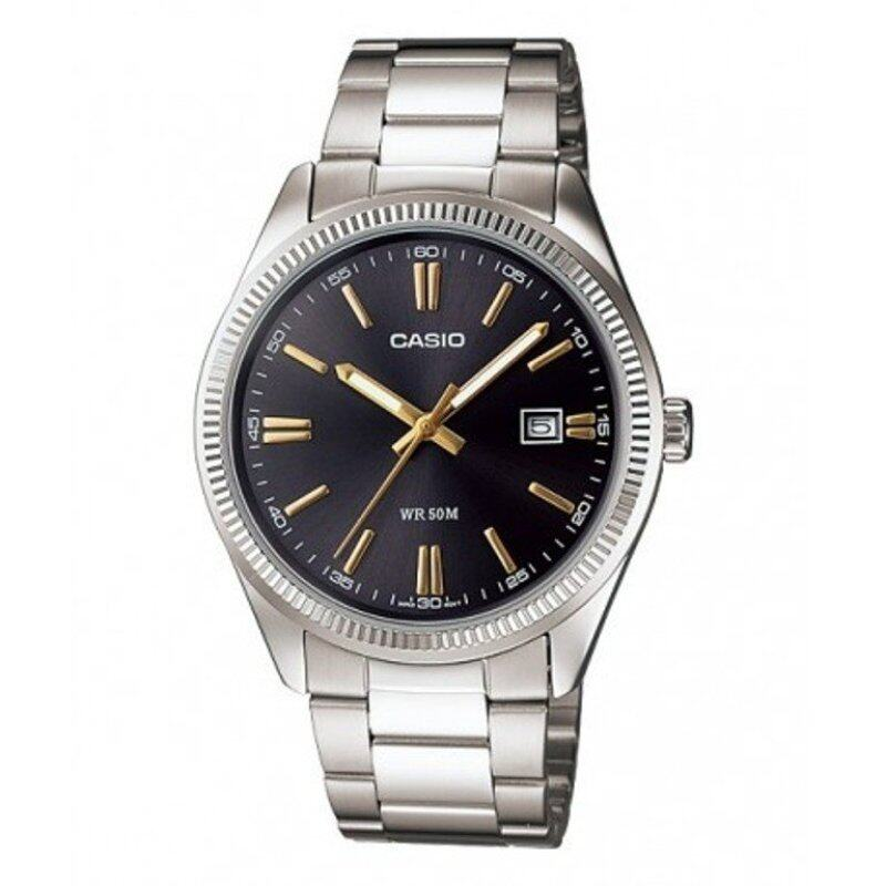 Casio ENTICER MTP-1302D-1A2V Stainless Steel Analog Date Mens Watch Black Malaysia