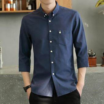 Casual or Bussiness Plain Color Lapel Collar 3/4 Sleeve Button Closured Shirt with Pocket for Men(Dark Blue)