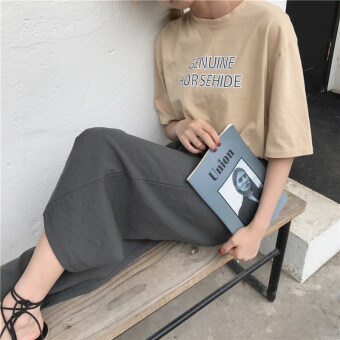 Casual pants female Spring and Autumn 2017 New style Korean-style loose cotton elastic waist high waist straight jeans chic wide leg pants (Gray) (Gray)