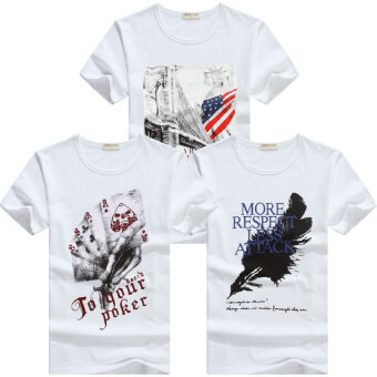 Cheng Hao and men's short sleeved t-shirt (New york white + packs white + white feathers) (New york white + packs white + white feathers)