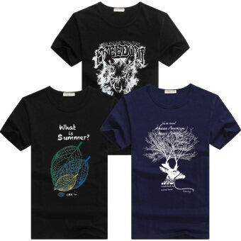 Cheng Hao and men's short sleeved t-shirt (Snow wolf black + black + deer tree leaves blue) (Snow wolf black + black + deer tree leaves blue)