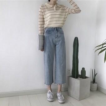 Chic female Hong Kong flavor Korean style Slimming effect wide leg pants denim pants (Blue) (Blue)