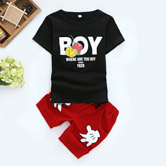 Children's boys 2 summer suit two-piece sets short-sleeved clothes (Boy black t-shirt + red pants) (Boy black t-shirt + red pants)