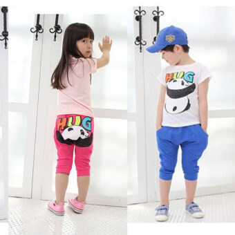 Harga Children's clothing wholesale factory direct 2017 summer New styleKorean-style Boys Girls fashion hug HarLan pants children suit(White Top + blue pants)