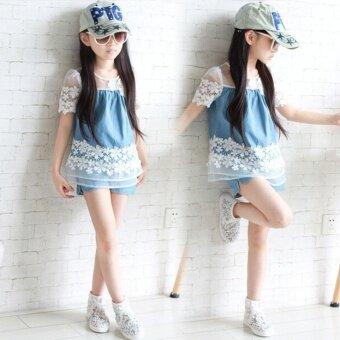 Children's girls summer short-sleeved denim suit two-piece Sets - 2