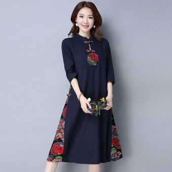 Harga Chinese-style artistic cotton linen Asian dress (Dark blue color)