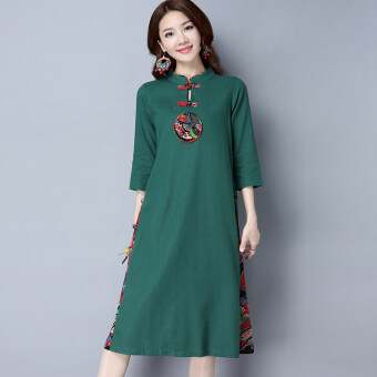 Harga Chinese-style artistic cotton linen Asian dress (Dark green color)