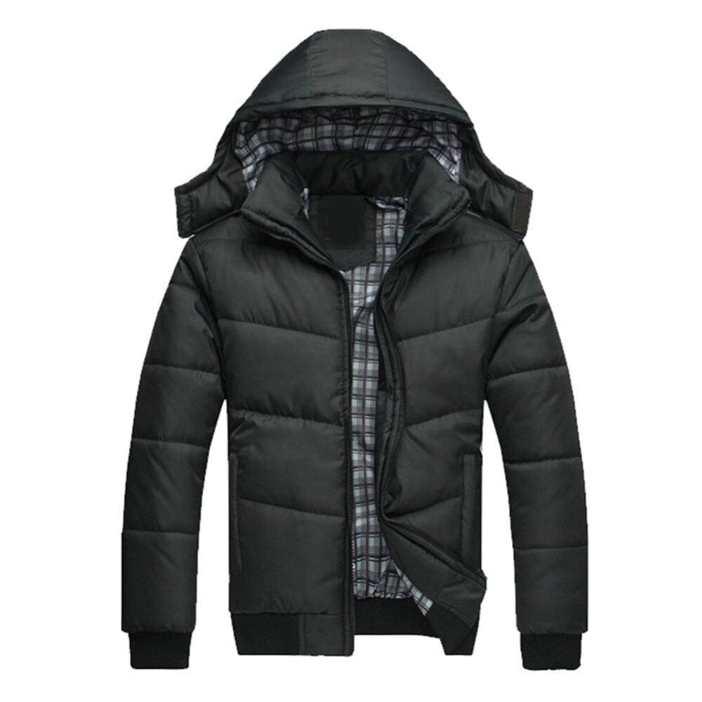 Cocotina Stylish Mens Warm Hoocoat Hooded Outwear Winter Jacket Black Lazada Malaysia