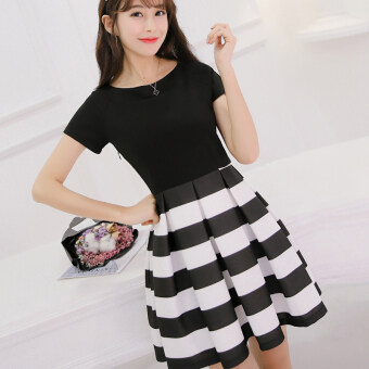 Color Diana dress Slim fit children short-sleeved dress striped dress