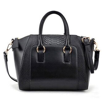 COMO Faux Crocodile Shopper Bag Black