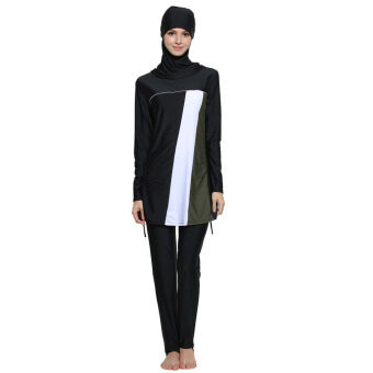 Conservative Women Ladies Muslim Swimwear Modest Islamic Bikini Bathing Swimming Suit Beachwear Black