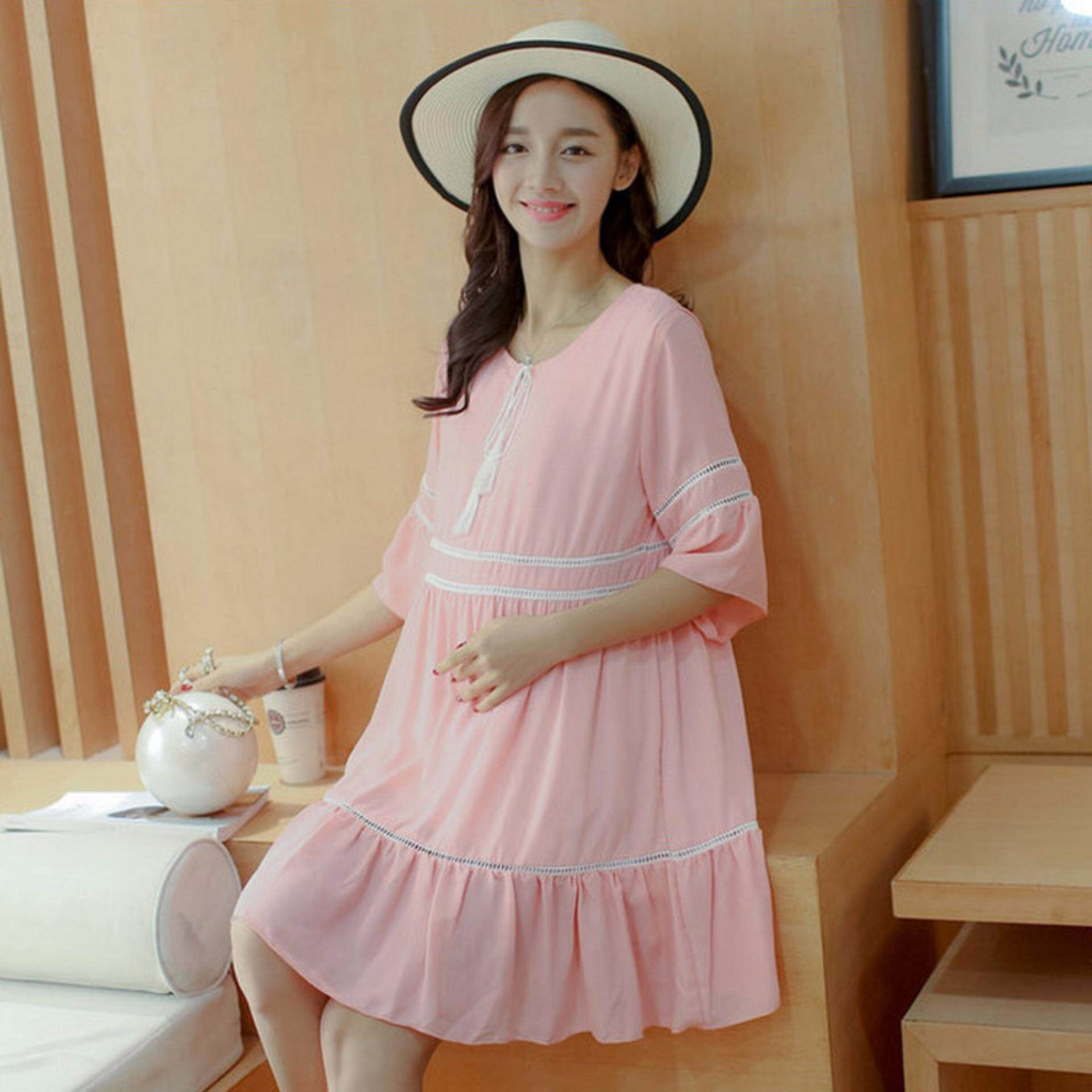 Cotton maternity dresses loose a line pregnancy dress pink cotton maternity dresses loose a line pregnancy dress pink lazada malaysia ombrellifo Gallery