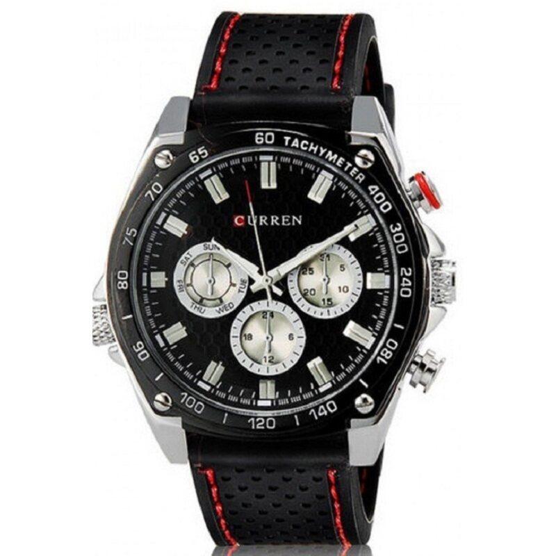 Curren Mens Black Silicone Strap Watch 8146 Malaysia