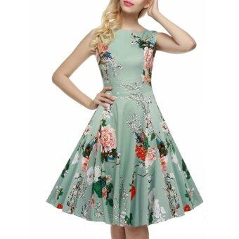 Cyber ACEVOG Stylish Lady Women's Casual Sleeveless Floral Printed Mid-calf Length Party Cocktail Evening Dress