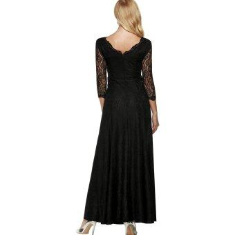 Cyber ANGVNS Women Lace 2/3 Sleeve Bridesmaid Homecoming Long GownMaxi Cocktail Party Evening Fromal Dress (Black) - 3