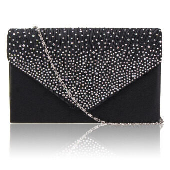 Diamante Women Evening Bag Satin Bridal Ladies Clutch Party Prom Envelope Bag Black