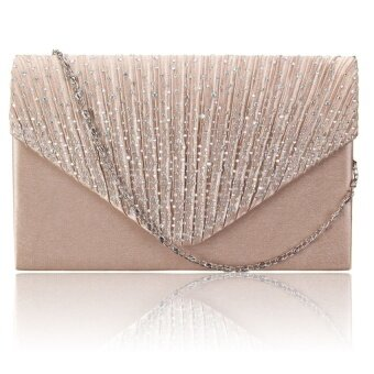 Diamante Women Evening Bag Satin Bridal Ladies Clutch Party PromEnvelope Bag Gold