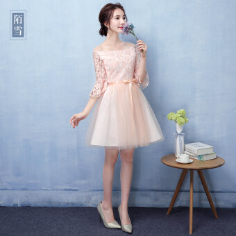 Dress female 2017 New style bridesmaid dress pink small dress Dresssummer evening dress bridesmaid dress short paragraph sisters dress(Pink color C Models)