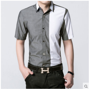 Dx-601 Korean-style Slim fit business non-Iron Shirt grid shirt ([Dx-7] gray)