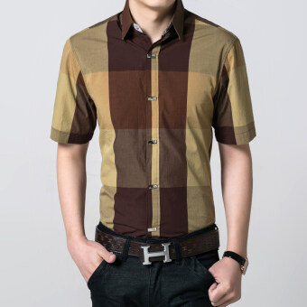 Dx-601 Korean-style Slim fit business non-Iron Shirt grid shirt ([Dx-9 yellow])