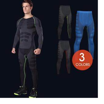 EcoSport Men Compression Long Pant Tight Pant Quick-Drying RunningPants MA05 (Green Line)