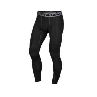 EcoSport Professional Men Compression Fitness Long Pants PRO Sport Quick Dry Tights Gym Bodybuilding Trousers (Black)