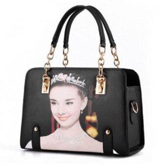 European Fashion Ladies Casual Shoulder Messenger Bag   Tote Bag  Backpack   Set Bag Collection - Black