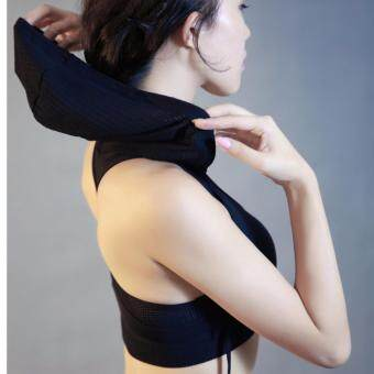Fashion Hooded sport bra quick dry and breathable / Black - 5