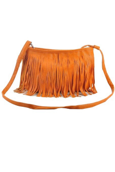 Fashionable PU leather fringe sling bag - Brown | Lazada Malaysia