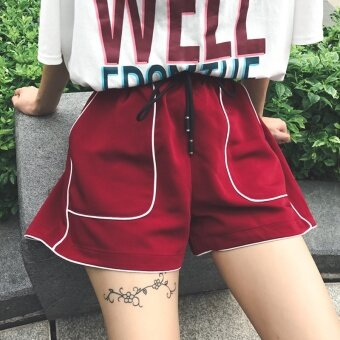 Female summer new korean fan chic loose thin wild college wind elastic waist hot pants white casual shorts (Red)