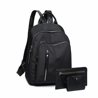 Female USB Oxford Cloth Bag backpack (Large black three sets)