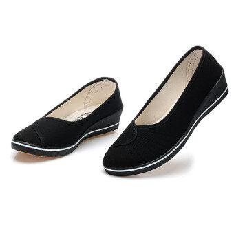 Female with slope Comfortable Soft Work shoes Beauty Dance Canvasshoes Black - 4