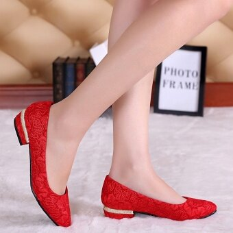 Harga Flat female spring and cloth shoes Shoes (Red 3CM lace) (Red 3CM lace)
