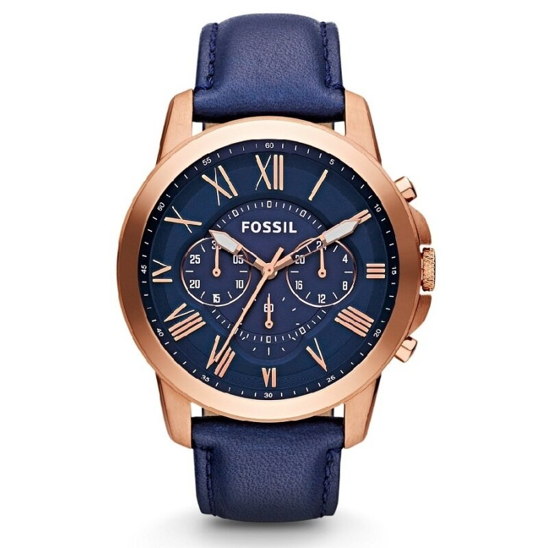 Fossil FS4835 Grant Chronograph Leather Watch (Blue)(44) Malaysia