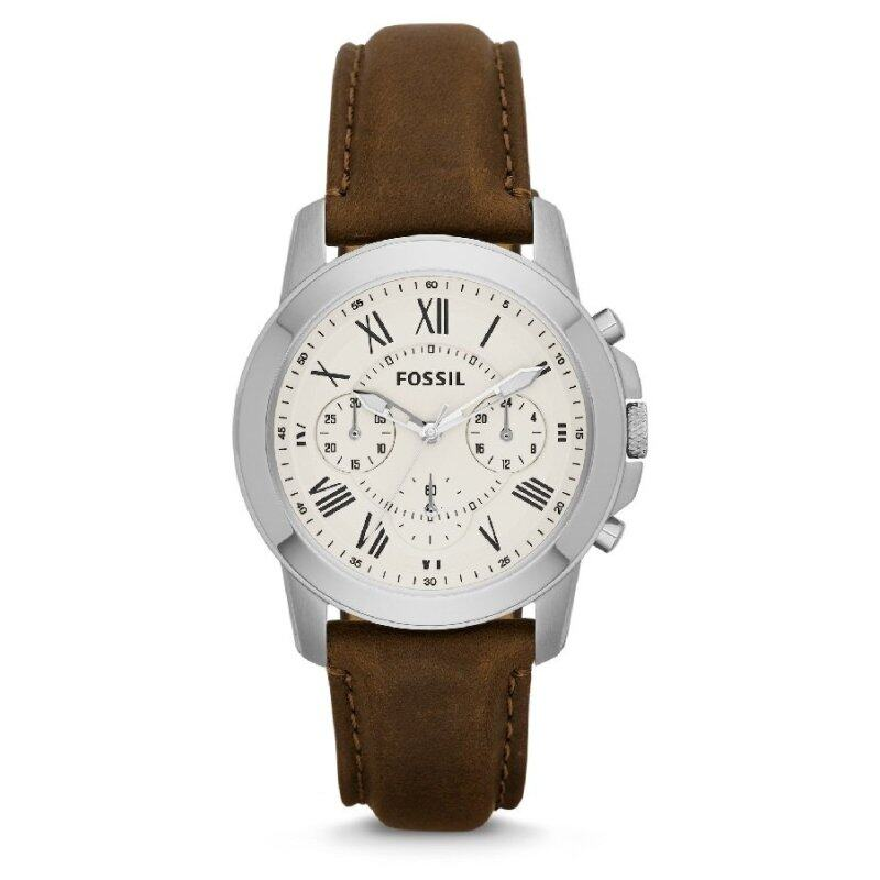Fossil Mens Grant Chronograph Brown Leather Strap Watch FS4839 Malaysia