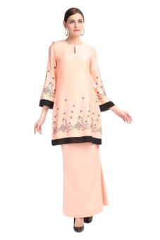 Gene Martino Dotted Pattern Baju Kurung Modern Orange