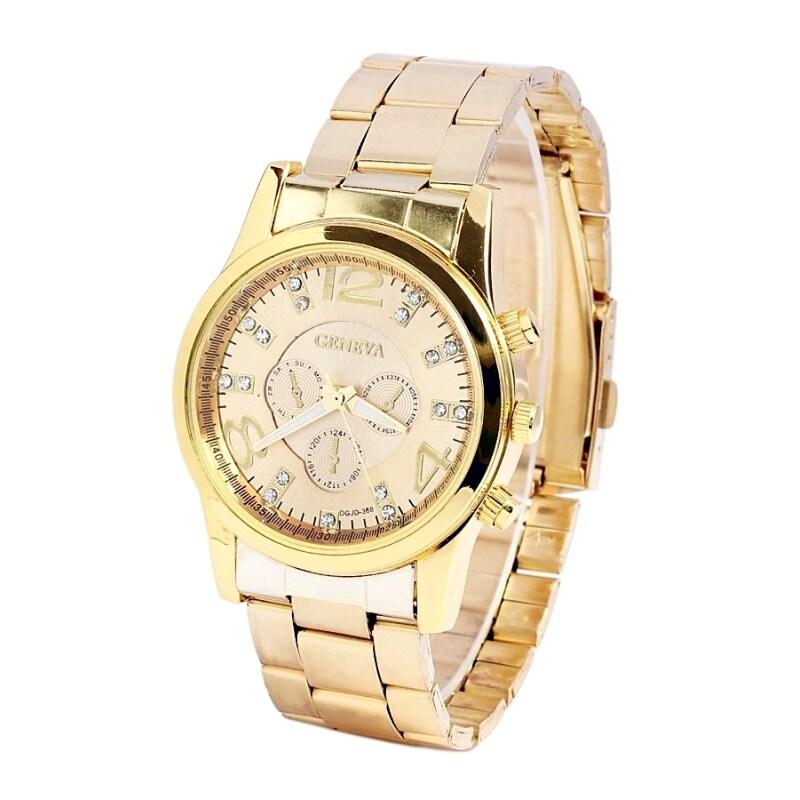 Geneva Chronograph Elegant 178 Watch Gold + Free Watch Box Malaysia