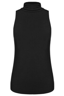 GETEK Turtle Neck Sleeveless Stretch Blouse Tops S-XL (Black)