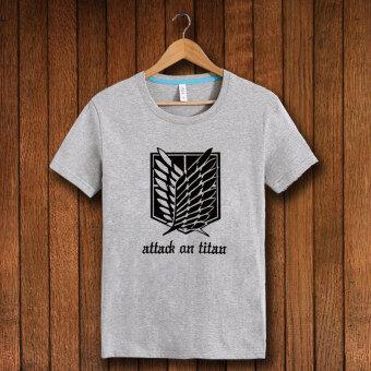 Giant cotton Ling basket short sleeved t-shirt (Black attack on titan/short sleeve gray) (Black attack on titan/short sleeve gray)