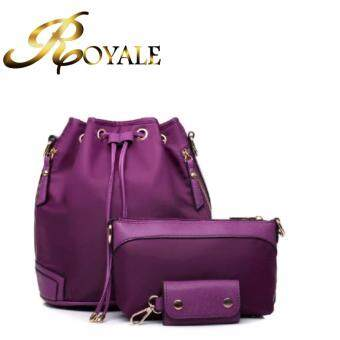 GTE ROYALE 3-In-1 Korean Style Nylon Bucket Bag - Purple