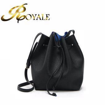 GTE ROYALE Korean Style Fashion Simple Women Cross-Body Bag Casual Mini Drawstring Bucket Bag - Black