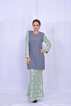Gulatis Baju Kurung LACE CHANTILLY Grey
