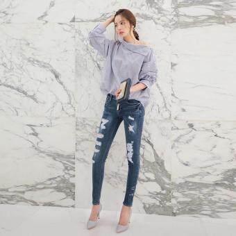 Hang-Qiao Women Striped Blouse Oblique Collar Off Shoulder Full Sleeve Shirt (Light Blue) - 5