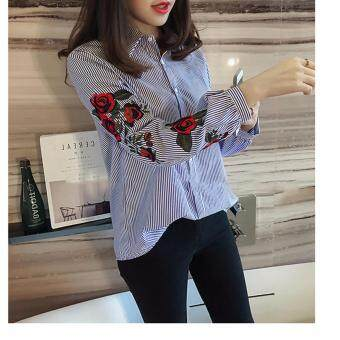 Hanyu Korean Style Women Casual Long Sleeve Blouse Floral Embroidered Shirt Striped Tops (Blue) - 2
