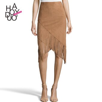 Haoduoyi2017 European and American tassel New style does not rule high waisted skirts